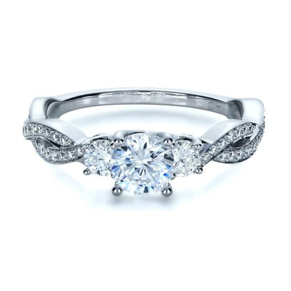 Custom Three Stone Diamond Engagement Ring Bellevue Seattle Joseph