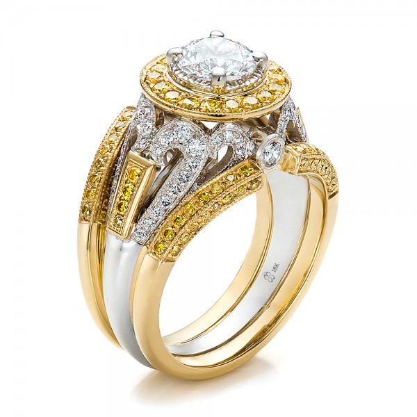 Custom Two Tone Gold And Yellow And White Diamond Engagement 100640 Bellevue Seattle Joseph Jewelry