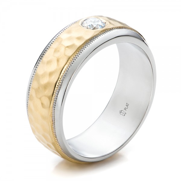 Custom Two Tone Hammered Finish And Diamond Men 39 S Band 100864 Bellevue S
