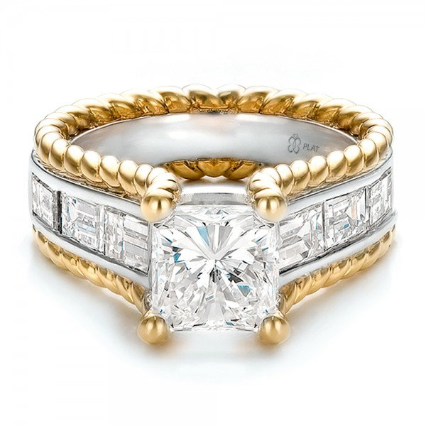 custom two tone platinum and gold engagement ring