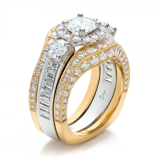 estate two tone wedding and engagement ring set 100619