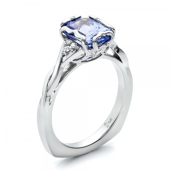 Custom Unique Setting Blue Sapphire Engagement Ring 100793 Bellevue Seattle Joseph Jewelry
