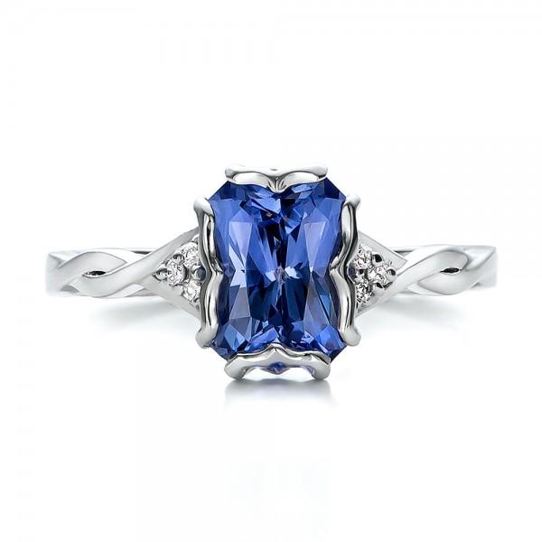 custom unique setting blue sapphire engagement ring