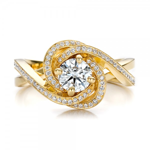 custom yellow gold and engagement ring 100433
