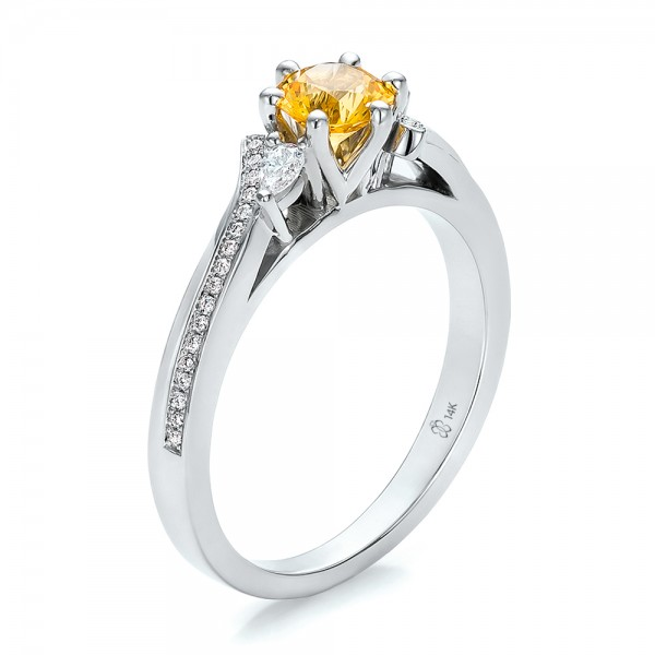 custom yellow sapphire and engagement ring 100621