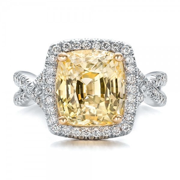 custom yellow sapphire and halo engagement ring