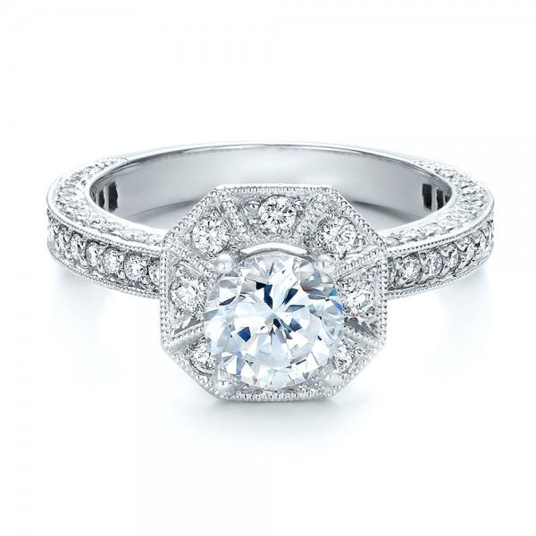 Diamond Halo Engagement Ring Vanna K Bellevue Seattle Joseph Jewelry