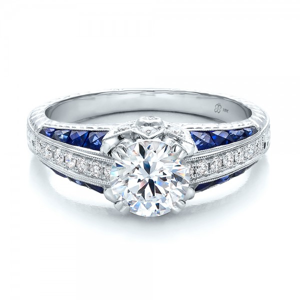 Diamond and Blue Sapphire Engagement Ring Bellevue Seattle Joseph Jew