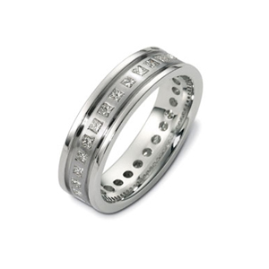 Men's Wedding Bands-Men's 18k White Gold and Diamond Band