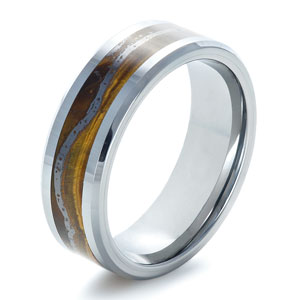 Men's Wedding Bands-Men's Tungsten Ring with Tiger Eye Inlay