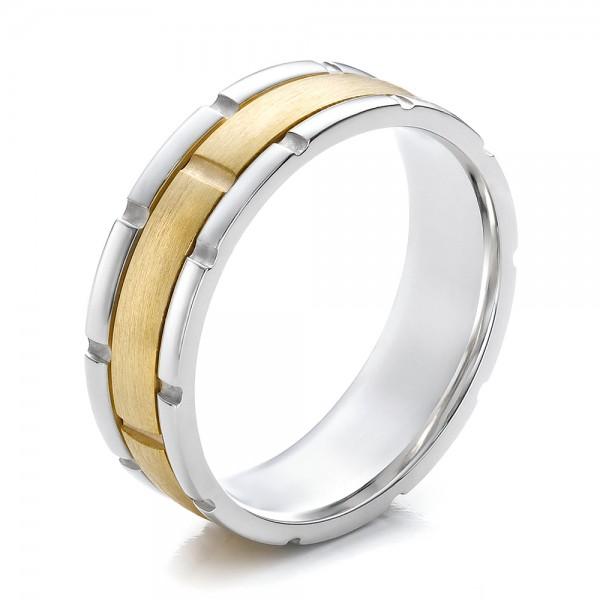 Men 39 S Two Tone Gold Brushed Wedding Band 100172 Bellevue Seattle Joseph
