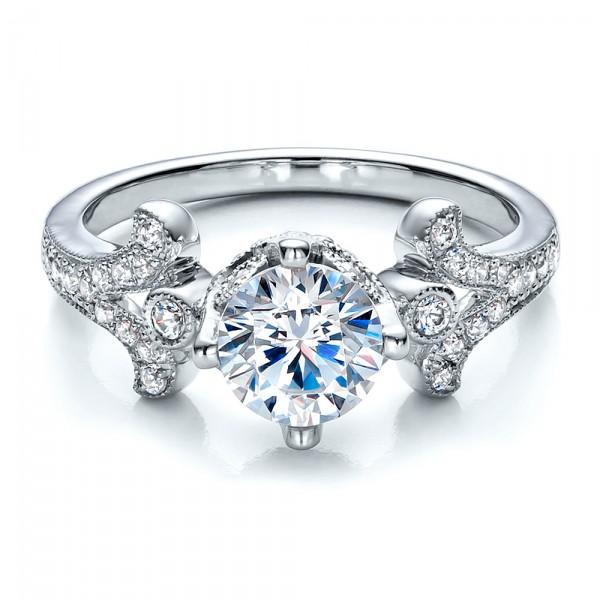 milgrain pave engagement ring vanna k 100075 bellevue