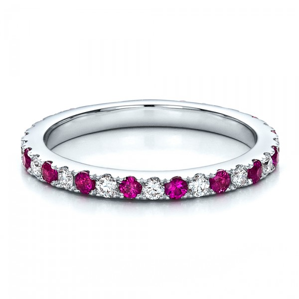 ... Wedding Rings › Pink Sapphire Eternity Band with Matching Engagement