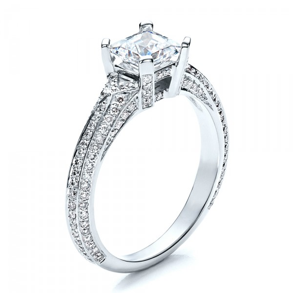 Princess Cut Pave Engagement Ring 1467 Bellevue Seattle Joseph Jewelry