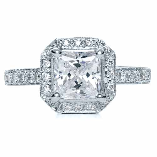 Princess Cut with Diamond Halo Engagement Ring #169 ...
