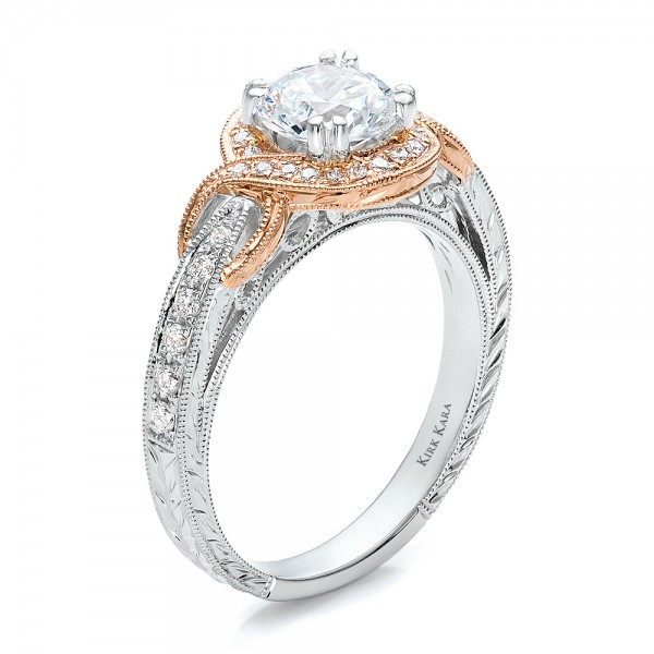 Two-Tone Gold, Diamond And Hand Engraved Engagement Ring