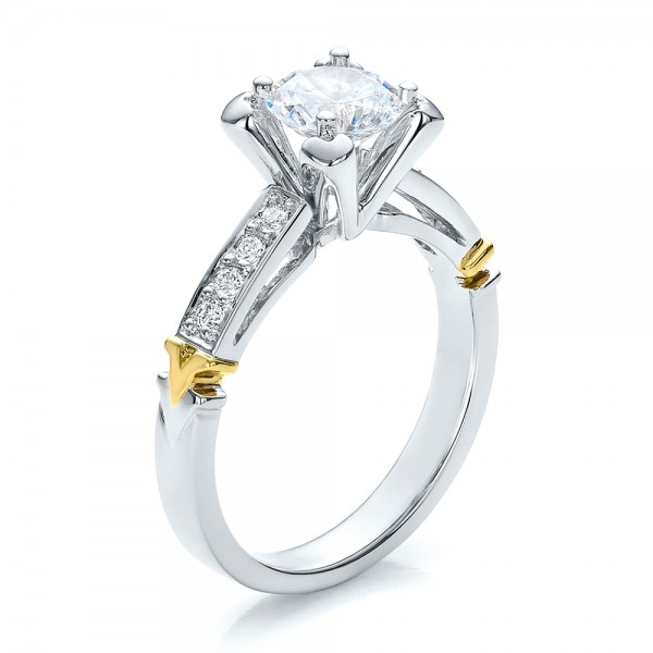 yellow gold engagement rings two tone white and yellow