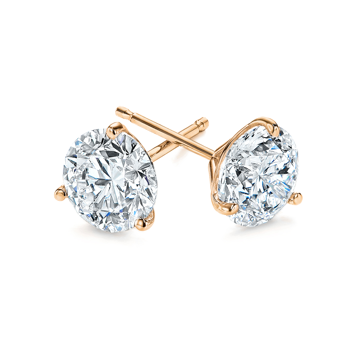 3-Prong Natural Diamond Stud Earrings