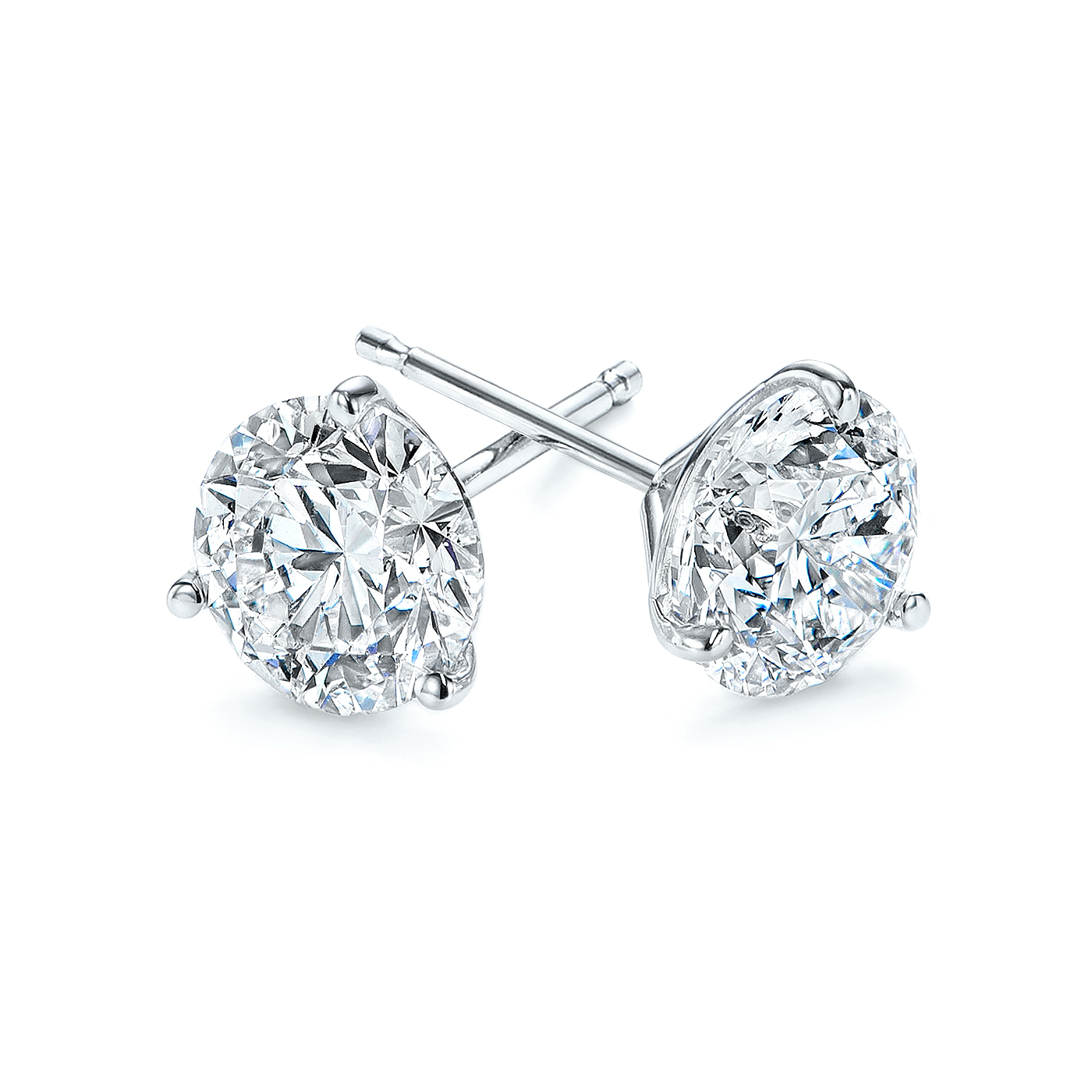 Platinum 3-Prong Natural Diamond Earrings (4 ctw.) - Three Quarter View Thumbnail