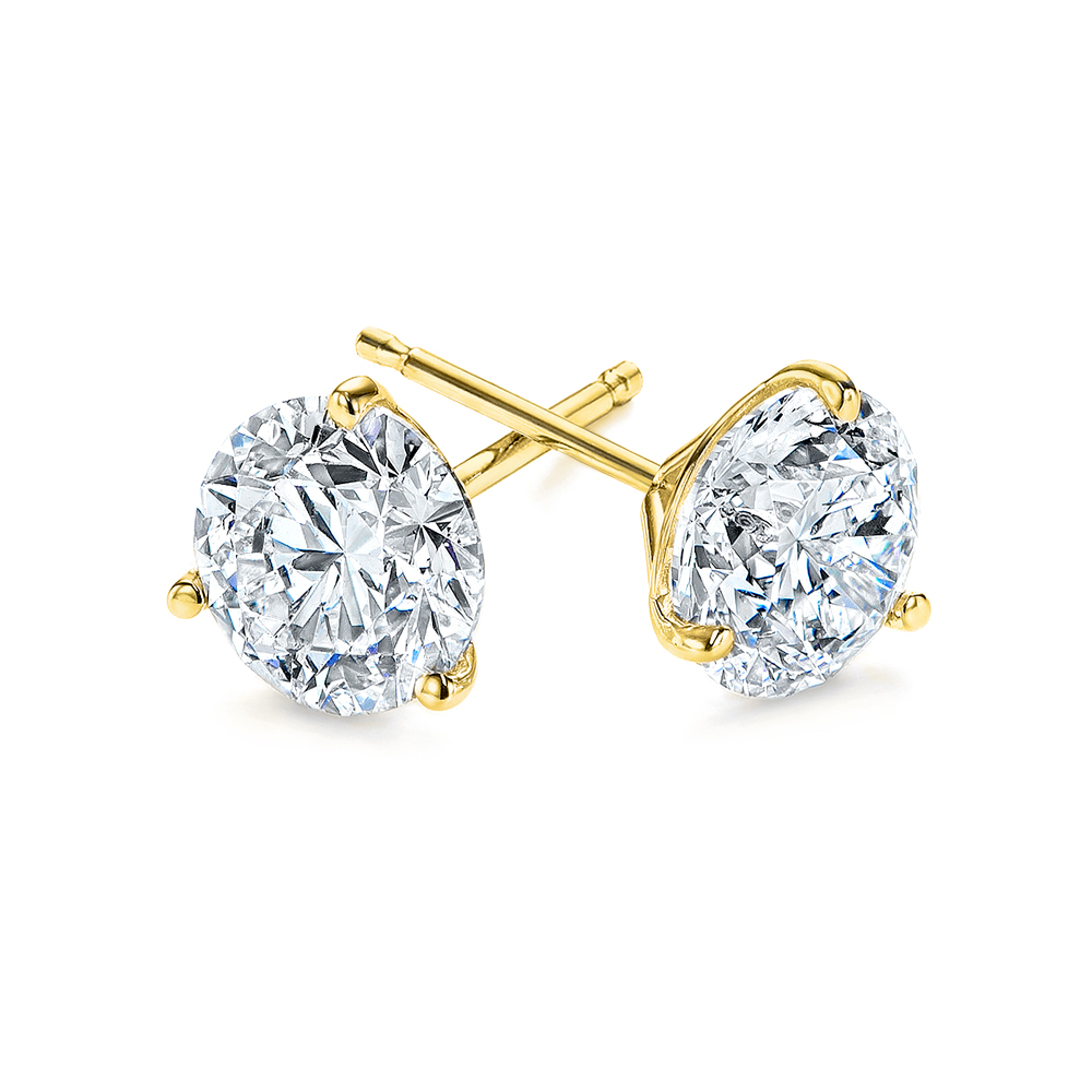 Yellow Gold 3-Prong Natural Diamond Earrings (1.5 ctw.) - Three Quarter View Thumbnail