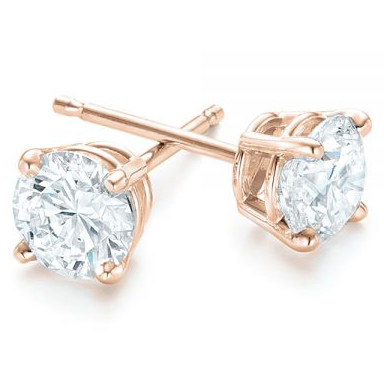 Rose Gold 4-Prong Natural Diamond Earrings (1.25 ctw.) - Three Quarter View Thumbnail