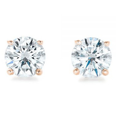 Rose Gold 4-Prong Natural Diamond Earrings (1.25 ctw.) - Front View Thumbnail