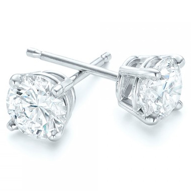 White Gold 4-Prong Natural Diamond Earrings (4 ctw.) - Three Quarter View Thumbnail