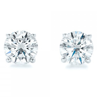 White Gold 4-Prong Natural Diamond Earrings (4 ctw.) - Front View Thumbnail