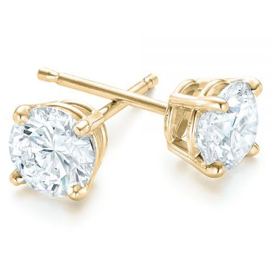 Yellow Gold 4-Prong Lab Diamond Earrings (3 ctw.) - Three Quarter View Thumbnail