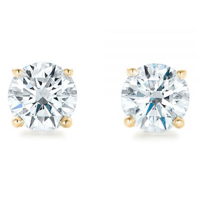 Yellow Gold 4-Prong Lab Diamond Earrings (3 ctw.) - Front View Thumbnail