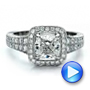 Platinum Custom Diamond Halo Engagement Ring - Video -  100098 - Thumbnail