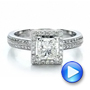 Custom Princess Cut Diamond Engagement Ring - Interactive Video - 100250 - Thumbnail