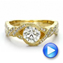 18k Yellow Gold Custom Diamond Engagement Ring - Video -  100253 - Thumbnail