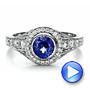 Custom Blue Sapphire and Diamond Halo Engagement Ring - Interactive Video - 100268 - Thumbnail