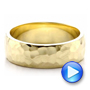 14k Yellow Gold Custom Men's Hammered Wedding Band - Video -  100269 - Thumbnail