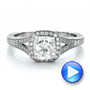 Platinum Platinum Custom Diamond Halo And Hand Engraved Engagement Ring - Video -  100277 - Thumbnail