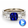 18k White Gold And 18K Gold Women's Blue Sapphire Diamond And Mokume Engagement Ring - Video -  100278 - Thumbnail