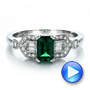 14k White Gold Custom Emerald And Diamond Engagement Ring - Video -  100286 - Thumbnail