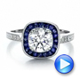 Art Deco Style Blue Sapphire Halo And Diamond Engagement Ring - Video -  100384 - Thumbnail