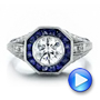 Art Deco Style Blue Sapphire Halo and Diamond Engagement Ring - Interactive Video - 100386 - Thumbnail