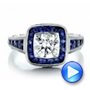 Art Deco Style Blue Sapphire Halo And Diamond Engagement Ring - Video -  100387 - Thumbnail