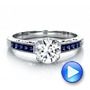 Diamond and Blue Sapphire Engagement Ring - Interactive Video - 100389 - Thumbnail