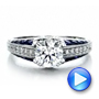 Diamond and Blue Sapphire Engagement Ring - Interactive Video - 100390 - Thumbnail