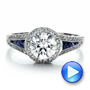 Diamond Halo And Blue Sapphire Engagement Ring - Video -  100391 - Thumbnail