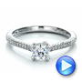 14k White Gold Contemporary Pave Set Diamond Engagement Ring - Video -  100395 - Thumbnail