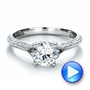 14k White Gold Split Shank Diamond Engagement Ring - Video -  100396 - Thumbnail