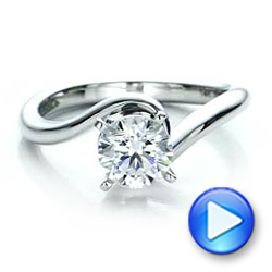 14k White Gold Contemporary Solitaire Engagement Ring - Video -  100400 - Thumbnail