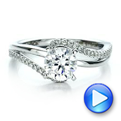 14k White Gold Contemporary Wrapped Split Shank Diamond Engagement Ring - Video -  100402 - Thumbnail