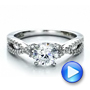 14k White Gold Contemporary Criss-cross Diamond Engagement Ring - Video -  100403 - Thumbnail