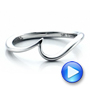 Contemporary Curved White Gold Wedding Band - Interactive Video - 100409 - Thumbnail